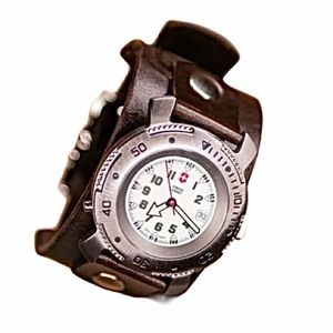 Swiss army watch with custom leather band
